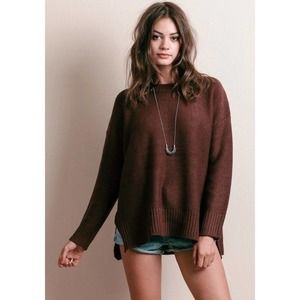 Knot Sisters Neilson Slit Rib Brown Sweater Large